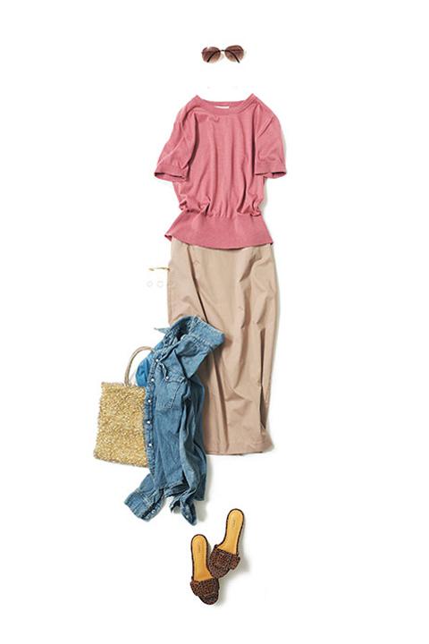 小粋に着るピンク
