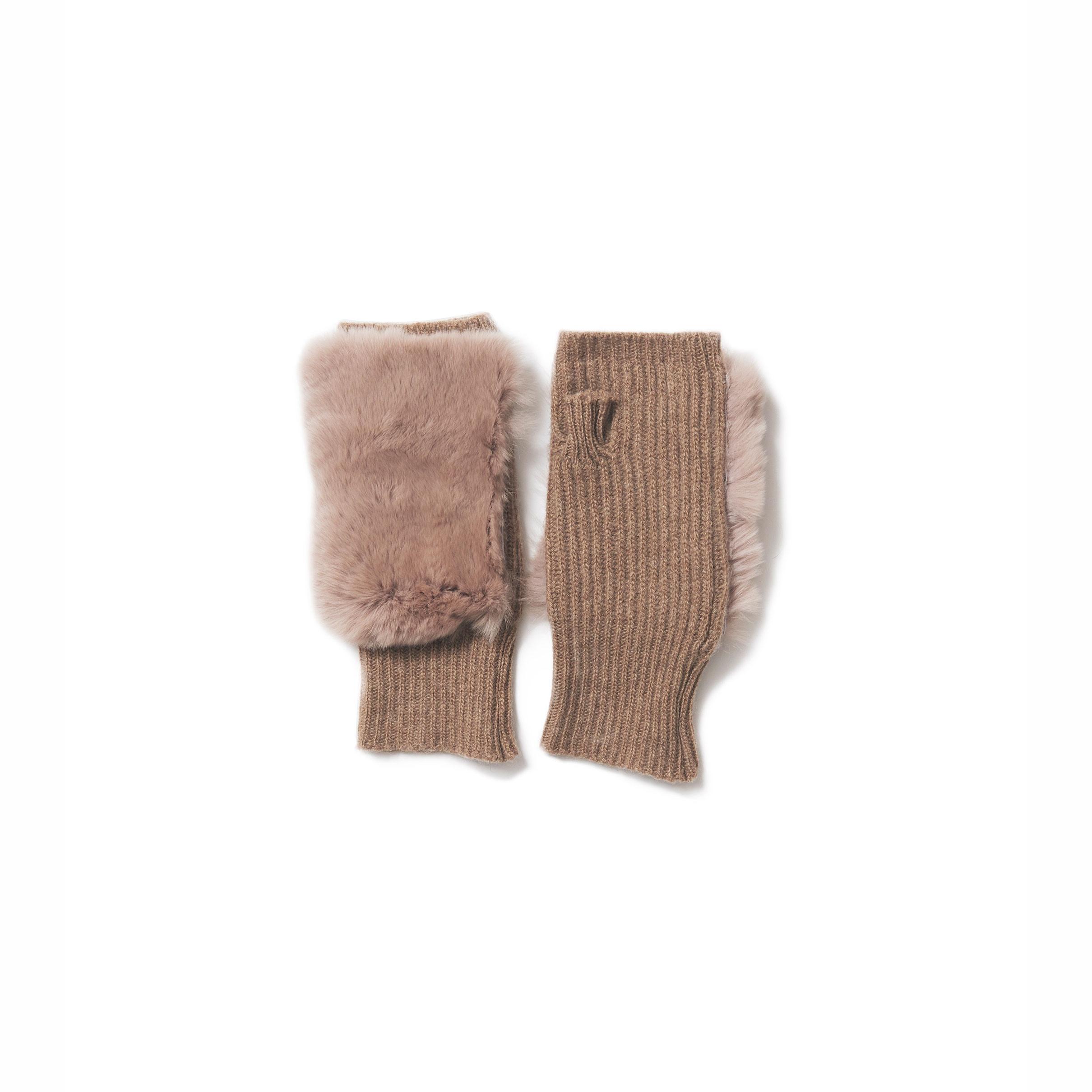 アクセみたいな、knit fur gloves