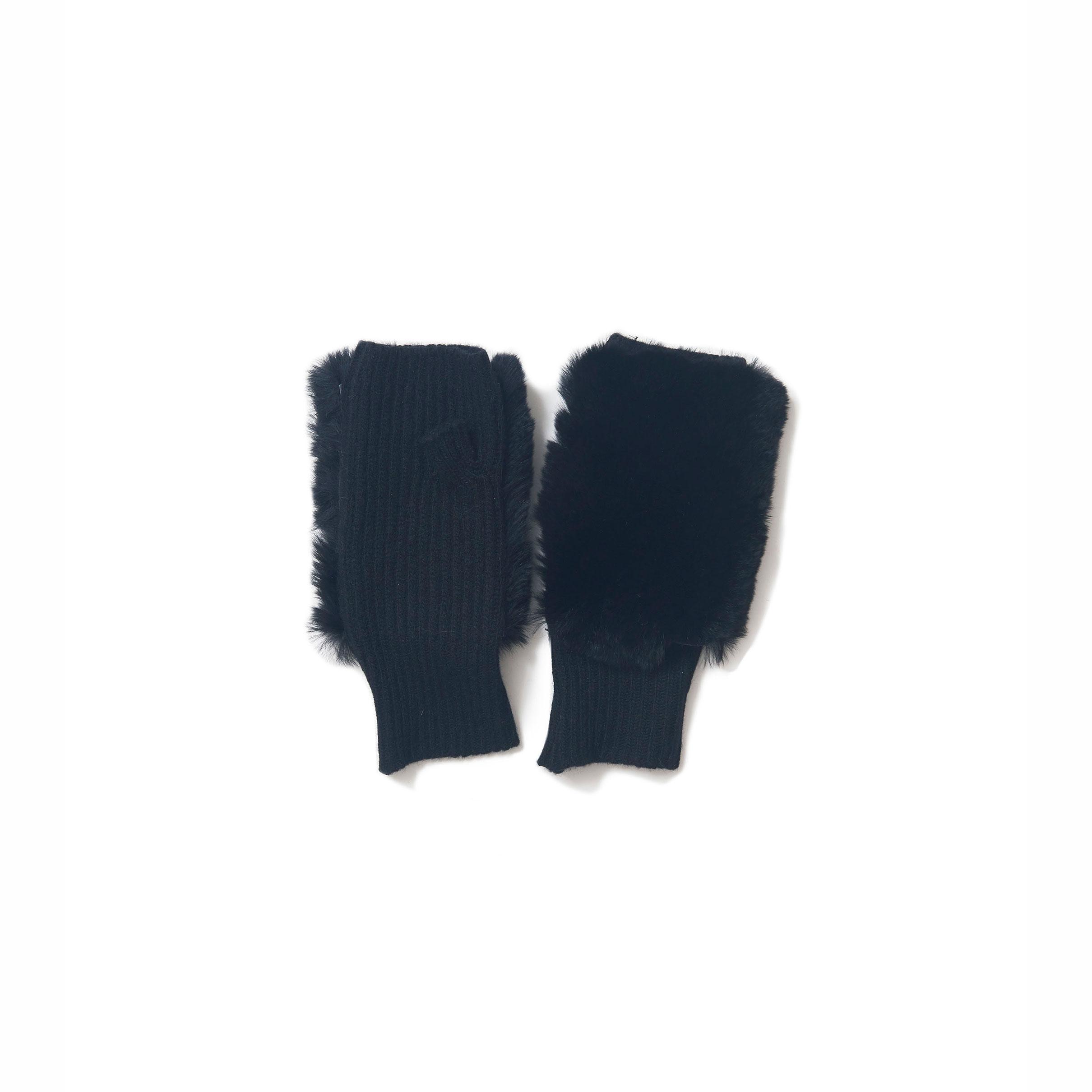 knit fur gloves @ Black