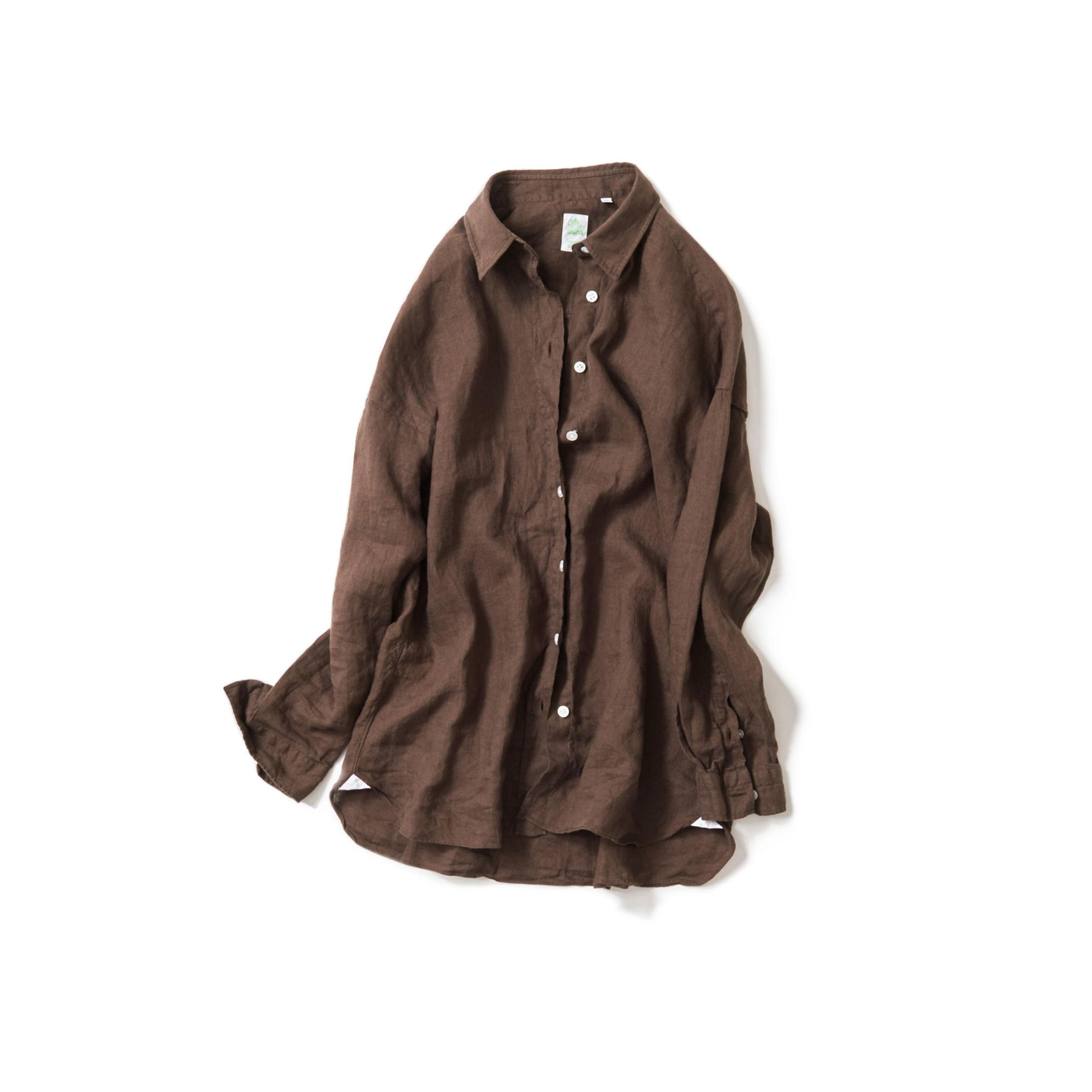 夏のブラウン@linen shirt
