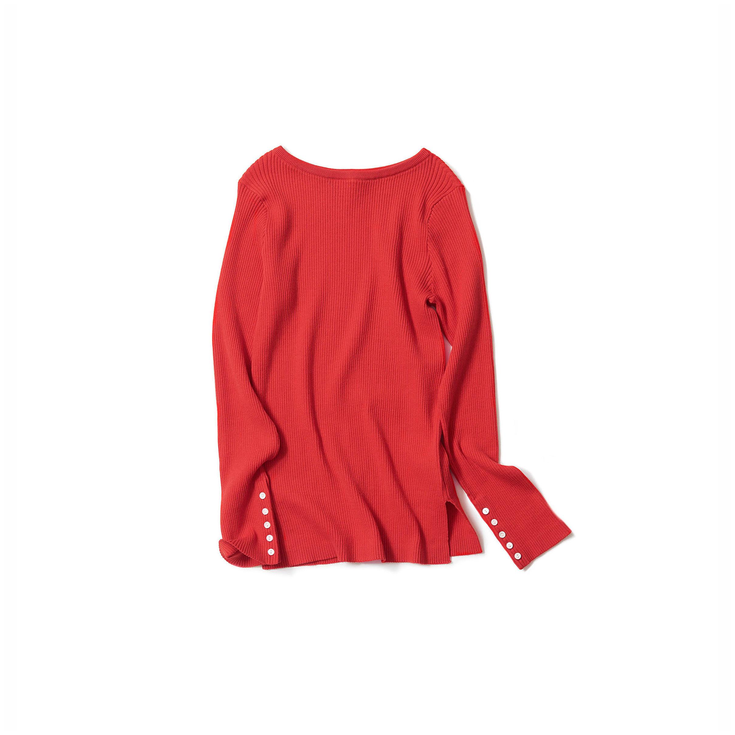 リブニット・vintage red